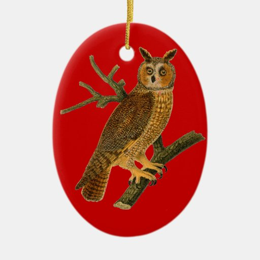 Vintage Style Owl Red Christmas Ornament Ceramic Oval Ornament