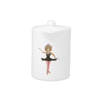 Vintage style painting of  Dancer in Black Tutu Teapot
