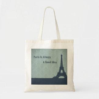 Vintage Style Paris Quote Canvas Bags