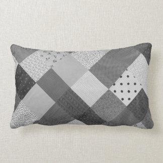 vintage style patchwork fabric design black white lumbar pillow