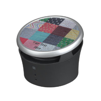 vintage style patchwork fabric design colorful bluetooth speaker