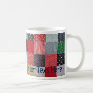 vintage style patchwork fabric design colorful coffee mug