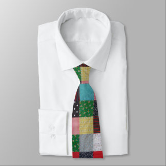 vintage style patchwork fabric design colorful neck tie
