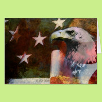 Vintage Style Patriotic Card with Bald Eagle