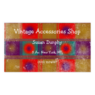 Vintage style pattern, red, mustard, purple, blue. business card templates