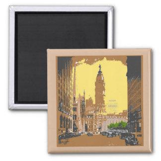 Vintage Style Philadelphia City Hall 2 Inch Square Magnet