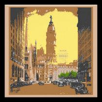 Vintage Style Philadelphia City Hall invitations