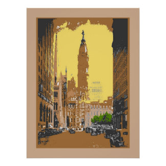 Vintage Style Philadelphia City Hall Poster