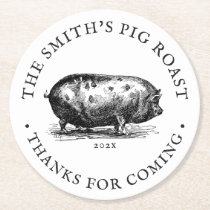 Vintage Style | Pig Roast Party Round Paper Coaster