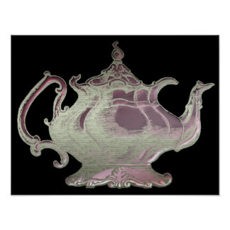Vintage Style Pink and Black Teapot Art Poster