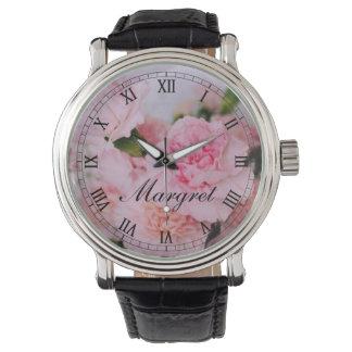Vintage style pink floral photo art custom watch