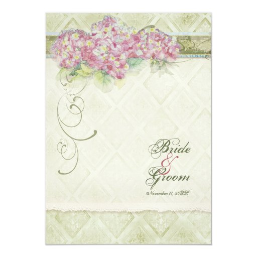 Vintage Style Pink Hydrangea - Wedding Invitation