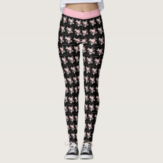 Vintage-Style--Pink-Waist_Black-Lavender-Pink-Rose Leggings