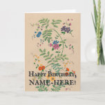 [ Thumbnail: Vintage Style Plants and Flowers Birthday Card ]