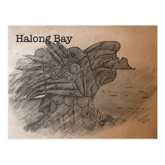 Vintage-style postcard of Halong Bay, Vietnam