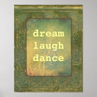 vintage style poster dream laugh dance & photo art