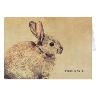 Vintage Style Rabbit Sketch Thank You Note Card