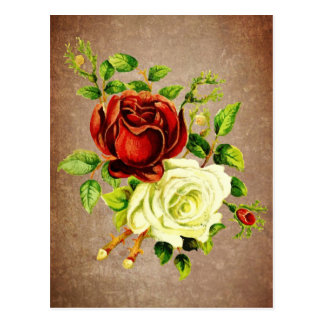 Vintage style red and yellow roses postcard