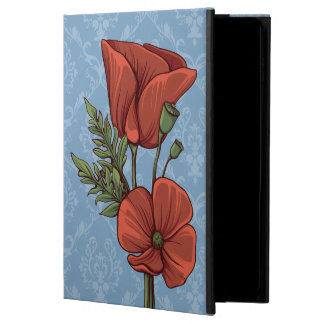 Vintage Style Red Poppies on Dusk Blue Damask Powis iPad Air 2 Case
