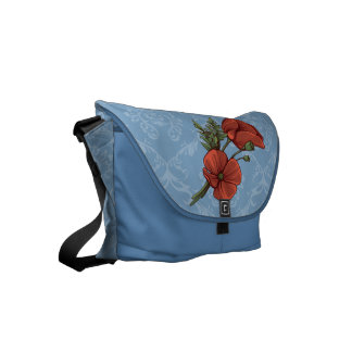 Vintage Style Red Poppies on Dusk Blue Damask Small Messenger Bag