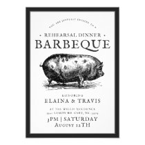 Vintage Style |  Rehearsal Dinner | BBQ Pig Roast Invitation