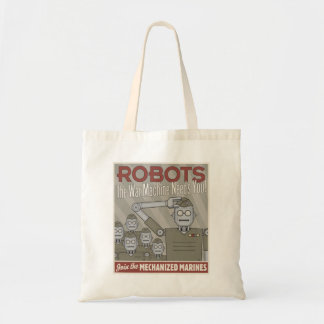 Vintage Style Robot Military Propaganda Tote Bags