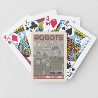 Vintage Style Robot Military Propaganda Bicycle Playing Cards