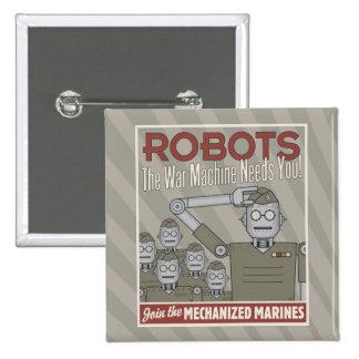 Vintage Style Robot Military Propaganda Pins