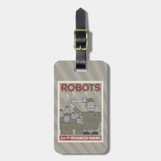 Vintage Style Robot Military Propaganda Tag For Bags