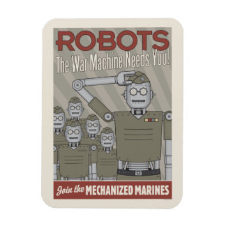 Vintage Style Robot Military Propaganda Magnet