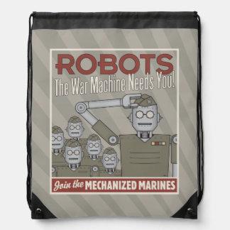 Vintage Style Robot Military Propaganda Cinch Bag