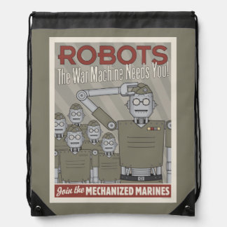 Vintage Style Robot Military Propaganda Drawstring Bags
