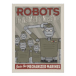 Vintage Style Robot Military Propaganda Poster