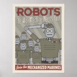 Vintage Style Robot Military Propaganda Poster
