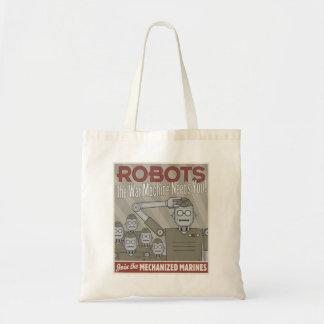 Vintage Style Robot Military Propaganda Tote Bag