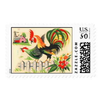 Vintage Style Rooster and Hen Postage Stamps