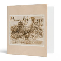 Vintage Style Rooster Photograph 3 Ring Binder