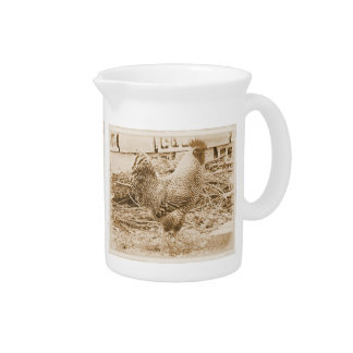 Vintage Style Rooster Photograph Pitcher