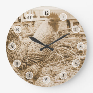 Vintage Style Rooster Photograph Wall Clocks