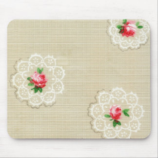 Vintage Style Rose Doily Mouse Pad