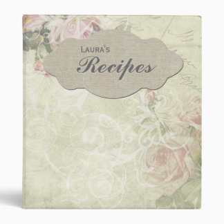 Vintage Style Rose Personalized Recipe Binder