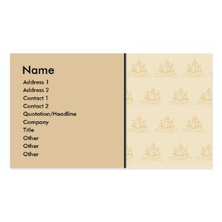Vintage Style Sailing Ship Pattern, Beige Color. Business Card