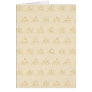 Vintage Style Sailing Ship Pattern, Beige Color. Stationery Note Card