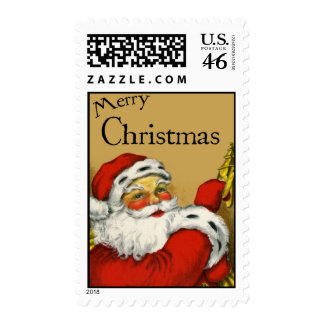 Vintage-Style Santa Claus Christmas Stamp
