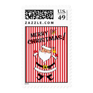 Vintage-Style Santa Claus Christmas Stamp