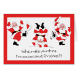 Vintage Style Santa Claus Excited About Christmas Greeting Card