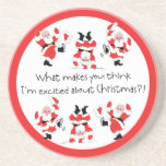 Vintage Style Santa Claus Excited About Christmas Drink Coasters