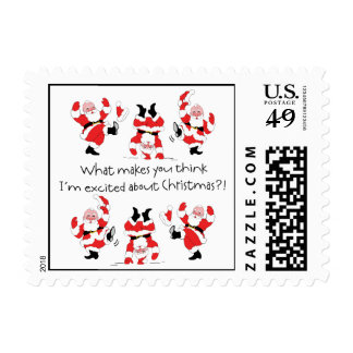 Vintage Style Santa Claus Excited About Christmas Stamp