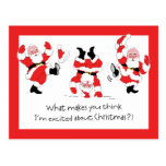 Vintage Style Santa Claus Excited About Christmas Post Cards