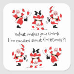 Vintage Style Santa Claus Excited About Christmas Square Stickers